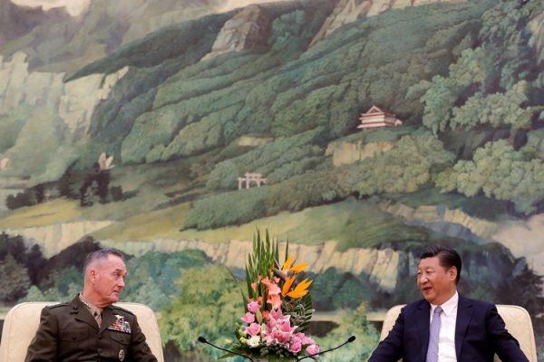 朝鲜半岛局势紧张 中国国家主席习近平会见美军参联会主席邓福德(图源:AP)