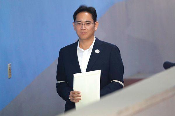 三星电子副会长李在镕出庭受审。(AP Photo/Lee Jin-man)