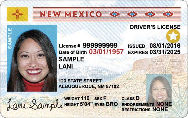 新墨西哥州颁发的全真驾照(REAL ID)。(MVD New Mexico)
