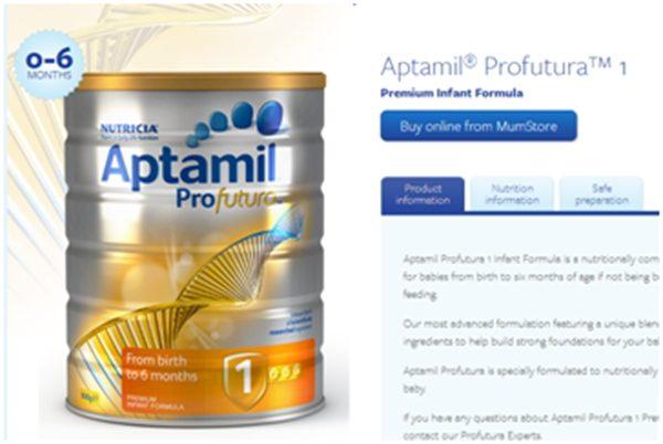 中国消费者青睐澳洲产奶粉。(Aptamil官网)