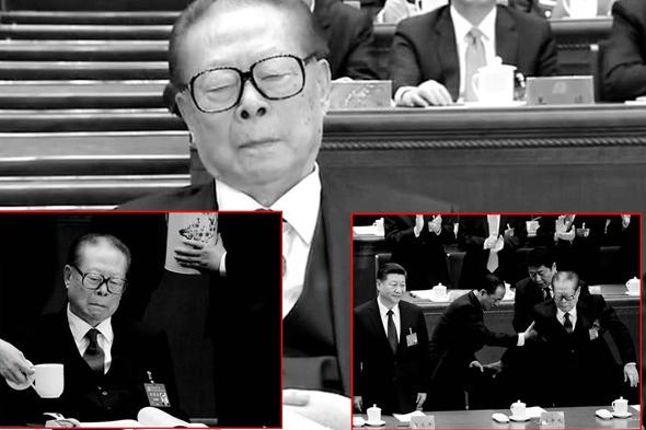 """江澤民兩月前露面十九大,是被""""架""""進會場的。(視頻截圖)"""