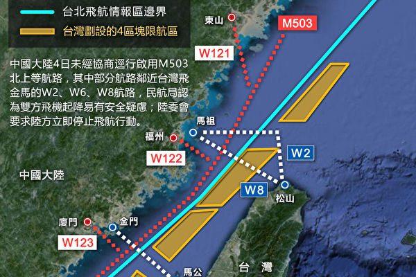 台海中线M503航线(图片选自台湾中央社)。
