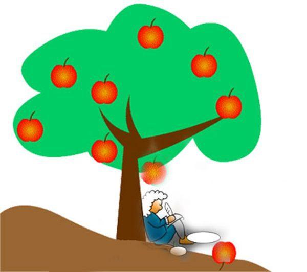 「萬有引力」聽說是當年牛頓在蘋果樹下,被一個蘋果打到頭而悟出來的(圖片 :希望之聲合成)