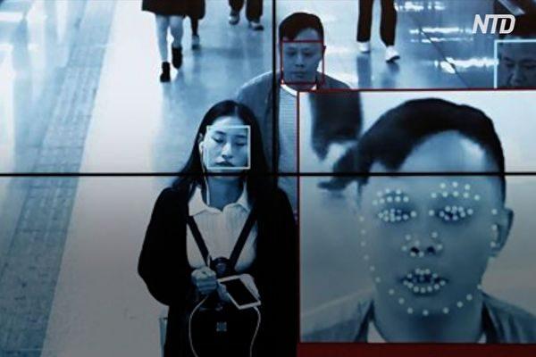 监视器中所见中共监控民众的人脸识别系统。(视频截图)