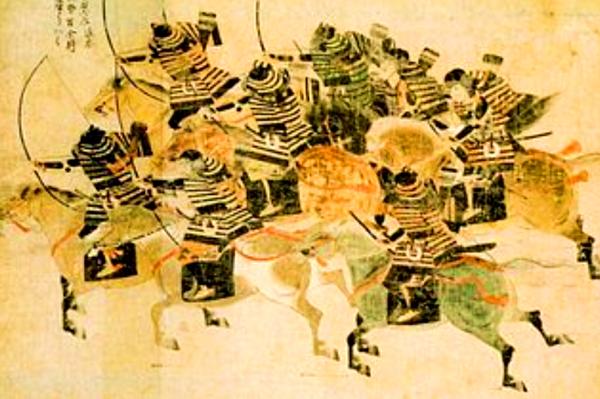邢曹進因討伐叛亂軍隊,在爭戰中被疾飛的流矢射中肩膀。圖為Tokaigata之戰(圖片:wikimedia /震天動地)