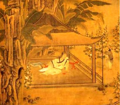第二天,守門人前來報告:有一西方僧人到門口來求食化緣。圖為明 周臣《山亭納涼圖》。(圖片:Wikimedia Commons)