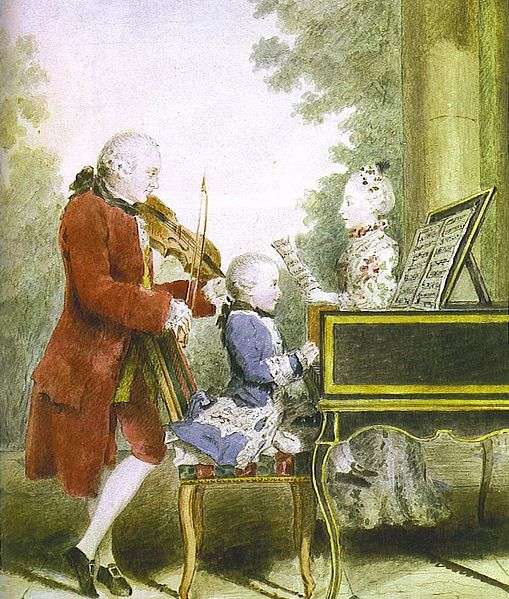 Leopold Mozart and his children, Wolfgang and Maria Anna (图片:wikimedia CC)