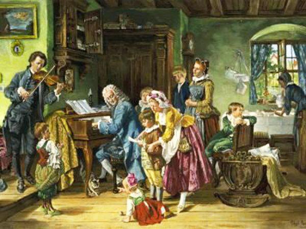 巴赫和家人在晨祷