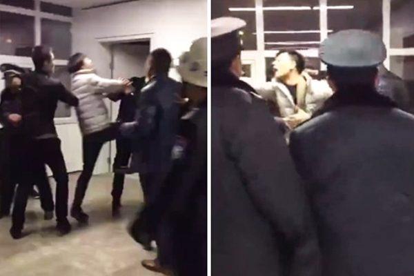 一名男子在医院殴打医生和保安人员。(网络图片)