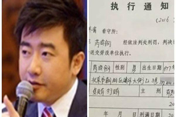 网传一份吉林蛟河市法院执行通知书显示芮成钢获刑6年