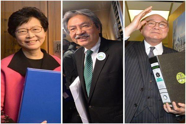 从左至右依次为林郑月娥、曾俊华、胡国兴, 三人正式成为特首候选人