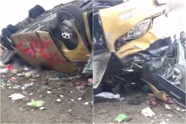 内蒙阿荣旗高速旅游巴士与私家车相撞 12死14伤