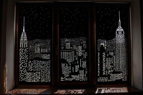 能看到超美夜景的窗帘 真是太有创意了