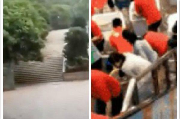 四川连续两天暴雨 堵塞交通 蔬菜大棚损失严重
