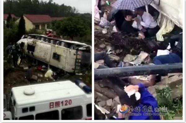 山东枣庄大客车侧翻7死6重伤