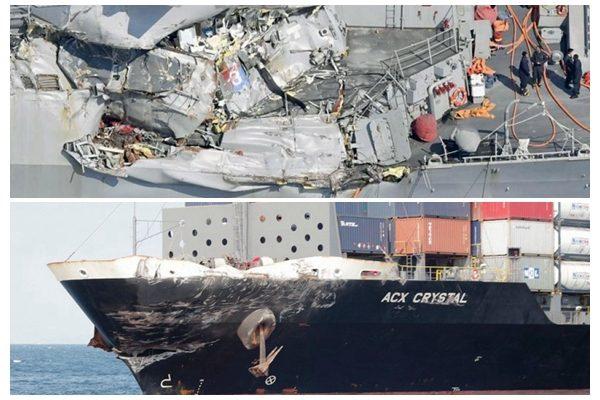 """""""费兹杰罗""""号驱逐舰(上)和""""水晶""""号商船(下)的不同受损程度。(SOH合成)"""