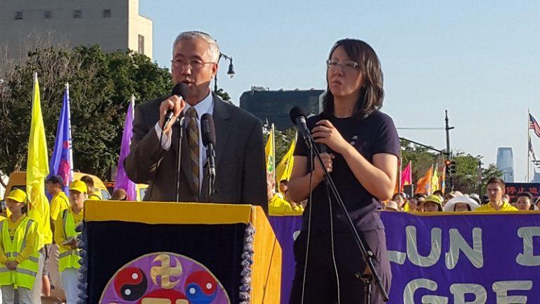 追查迫害法轮功国际组织负责人王志远在发言(摄影:金宇/SOH)