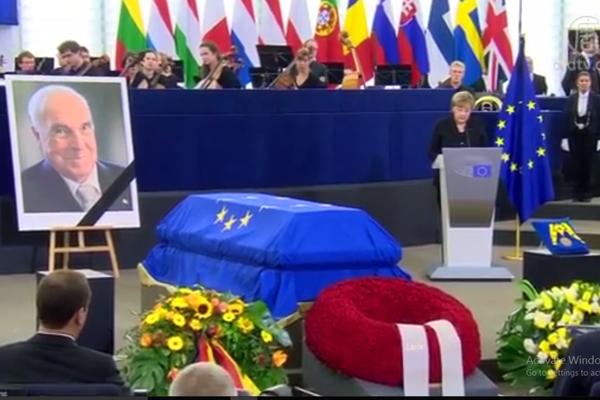 世界多国领袖齐聚欧洲议会 高规格悼念科尔