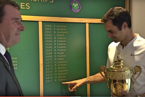 王者归来,费德勒第8次夺得温网冠军挑战者杯。(视频截图)