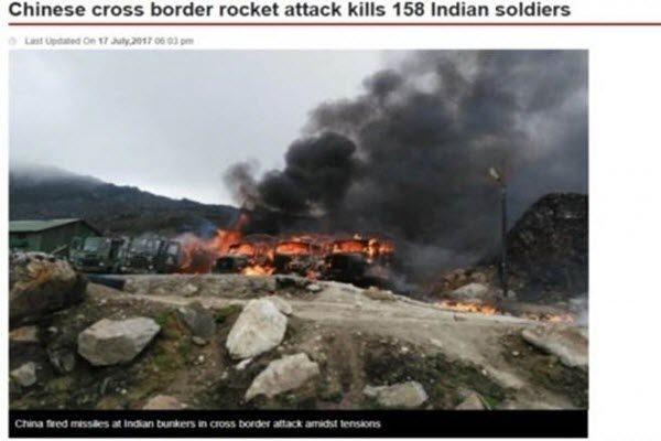 巴基斯坦《Dunya news》17日晚报导中共火箭炮打死印度士兵新闻被指涉嫌造假 网络截图