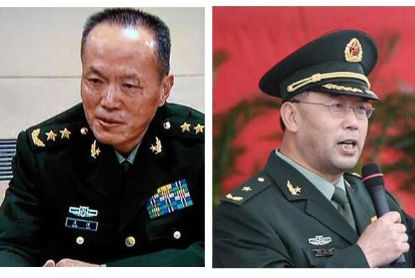 习近平晋升五上将:高津(左)、韩卫国(右)、刘雷、于忠福、王家胜