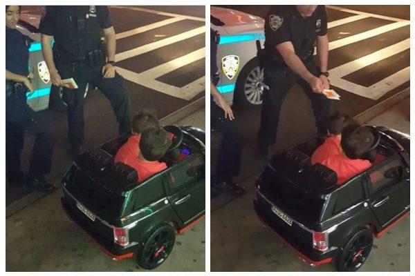 2岁的双胞胎小兄弟驾驶玩具车巡视街头,不料惨被警察叔叔开罚单(图片:instagram视频截图合成)