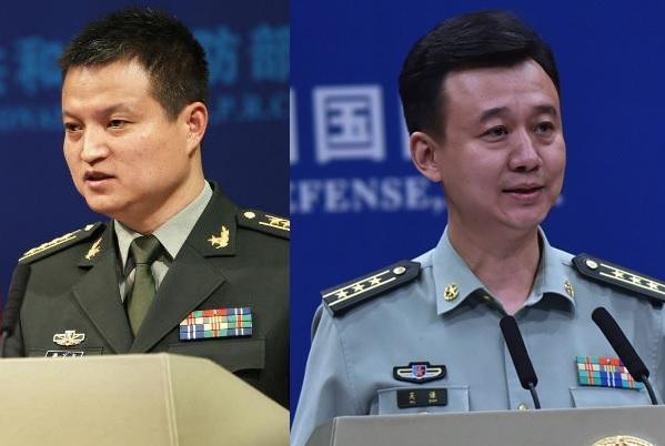 中共国防部新闻局更换局长 左:杨宇军;右:吴谦