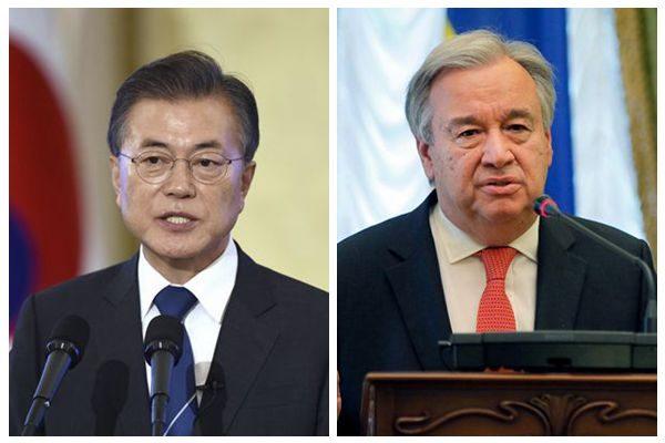 韩国总统文在寅就解决半岛危机会晤联合国秘书长古特雷斯。(SOH合成)