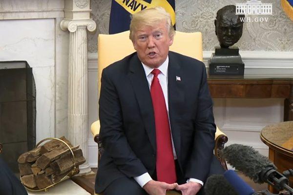 5月17日川普总统在白宫会见北约秘书长(白宫视频截图)