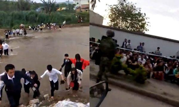 5月12日缅甸发生武装冲突,大量难民涌入中国。(视频截图)