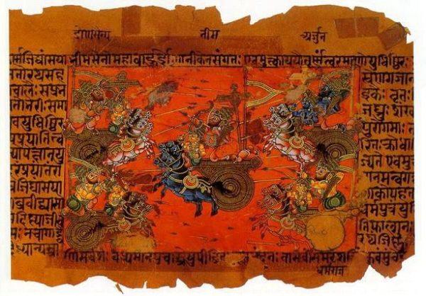印度古書《摩訶波羅多》是一本印度古代梵文敘事詩,意譯爲〝偉大的波羅多王后裔〞(圖片:維基共享資源 )