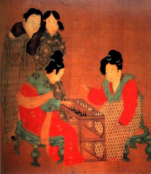 唐代画家周昉的《内人双陆图》描绘玩双陆的宫人(图片:Wikimedia Commons)