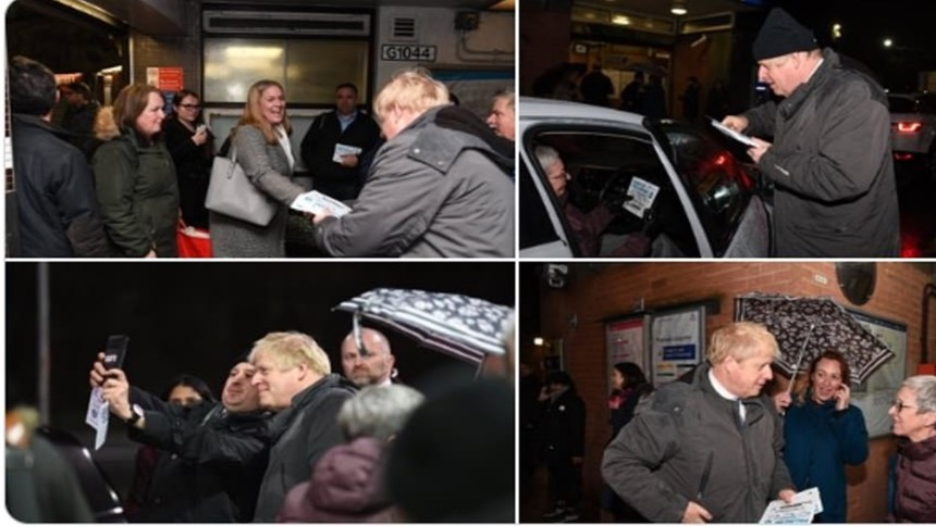 英相约翰逊于12月12日晚上还在他所在的选区参加竞选活动, 约翰逊推特图片。