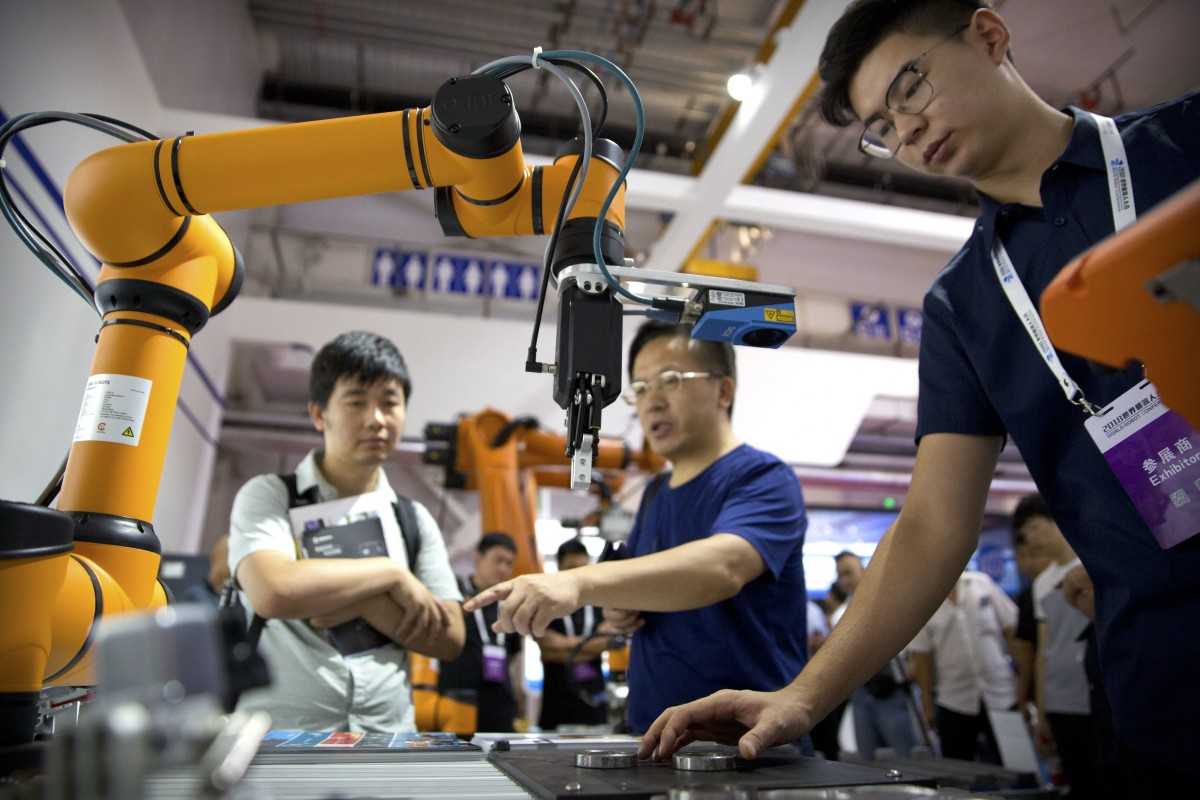 Chinese company Aubo Robotics at the World Robot Conference in Beijing,  Photo: AP.