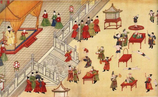 《明宪宗元宵行乐图》局部,古人过元宵节时的热闹场面。(图片:国家博物馆)