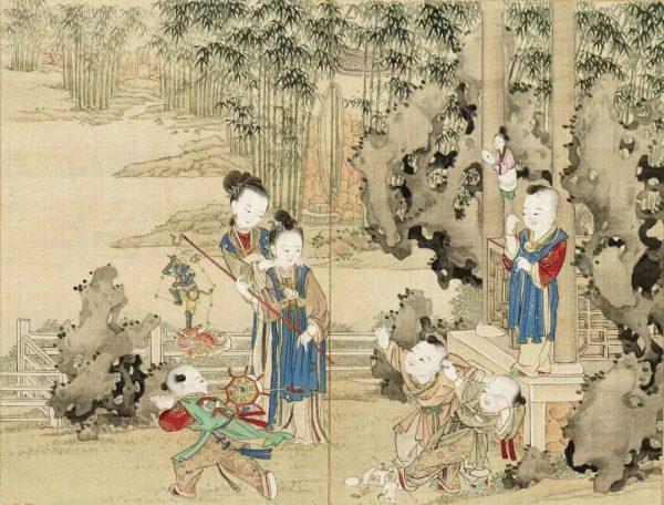 《升平乐事图》清宫廷仕女、孩童,于庭院中嬉戏闹元宵。(图片:台北故宫博物院)