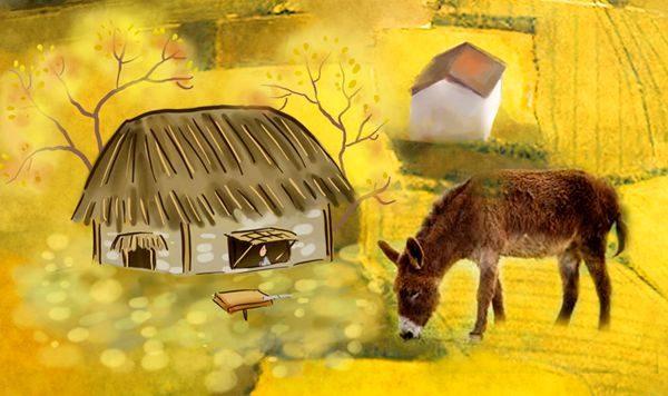此时家中剩下一间茅屋和一头跛脚的驴子 (图片来源:希望之声合成)