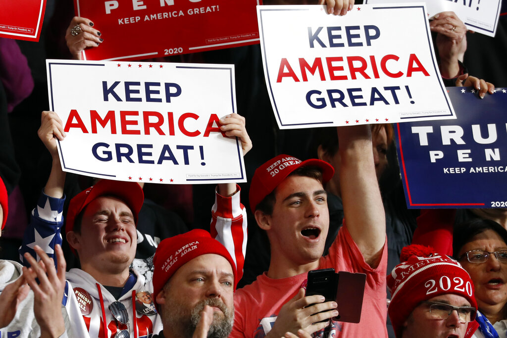 Supporters listen as President Donald Trump speaks at a campaign rally, Thursday, Jan. 9, 2020, in Toledo, Ohio. (AP Photo/ Jacquelyn Martin)