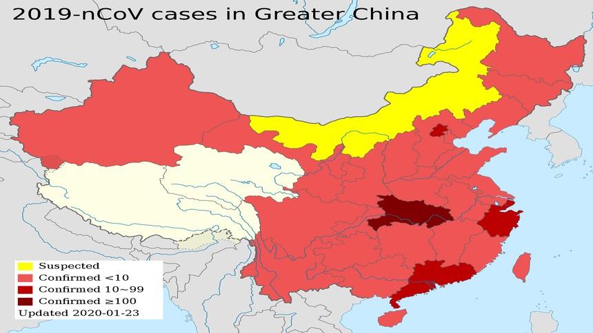1月23日,中国大陆武汉肺炎爆发状况