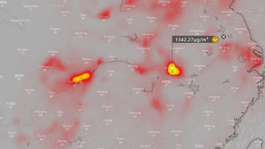 武汉市周边的二氧化硫含量高于重庆与上海(Windy.com)