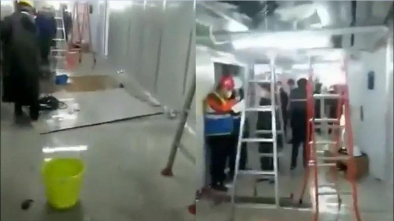 """才启用十余天 火神山医院严重漏水变""""水濂洞""""(视频)"""