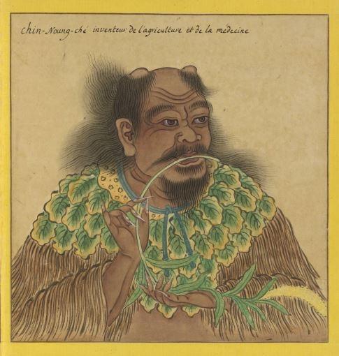 神农氏像,出《Portraits de Chinois celebres》(历代帝王圣贤名臣大儒遗像),(图片:18世纪绘制,法国国家图书馆藏)