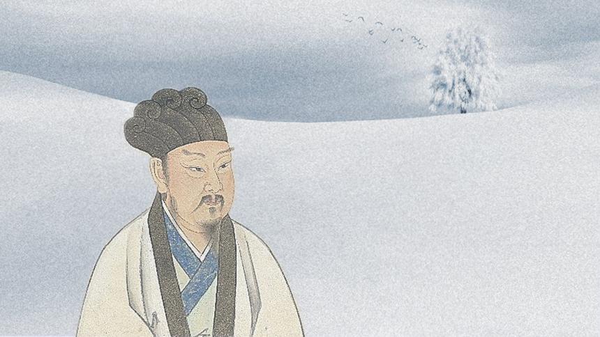 韓愈倉皇地前去赴任,途中卻遇到一場大雪,凜冽寒風之中,大雪積累了數尺深。(示意圖片:希望之聲合成)