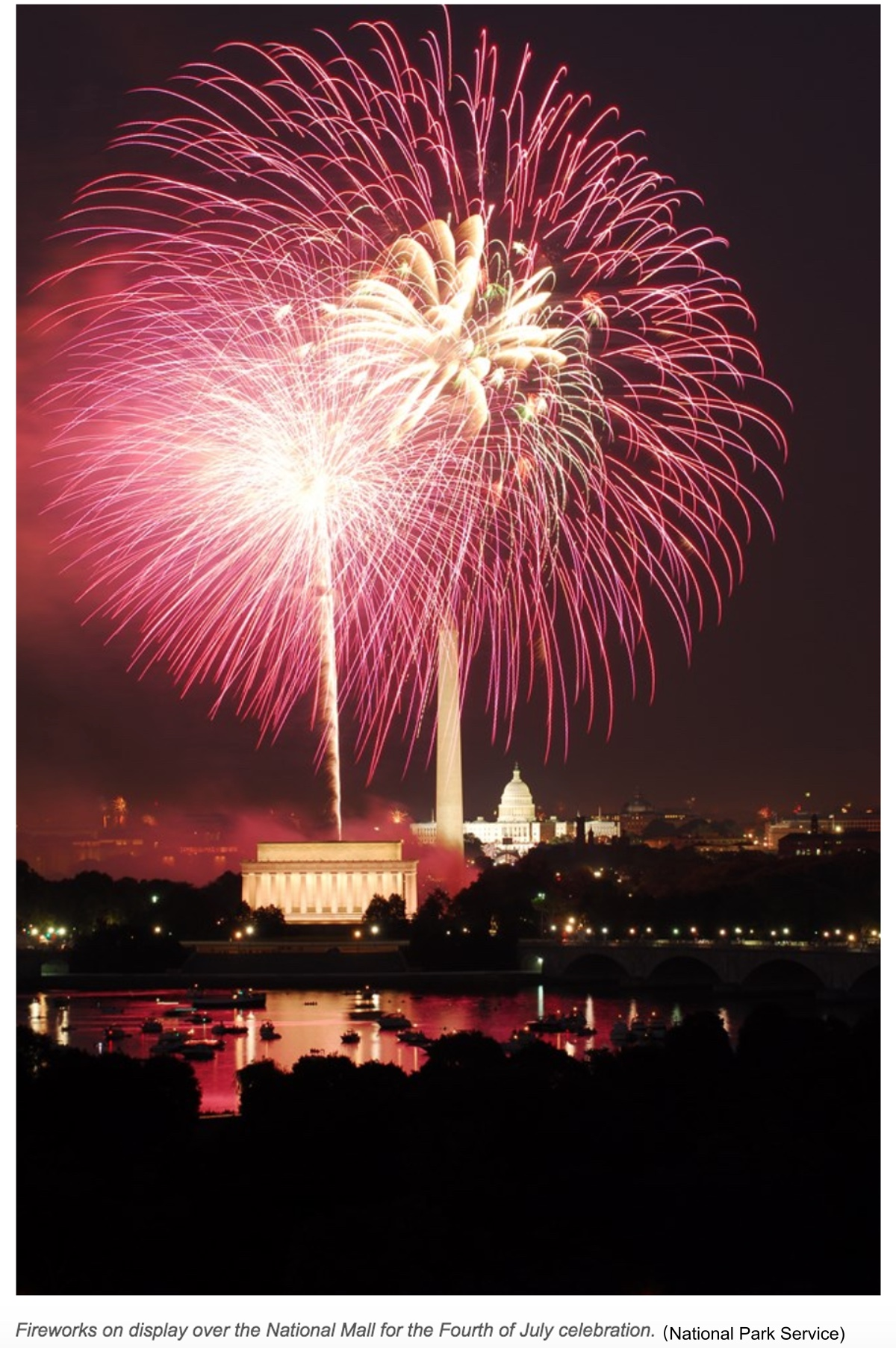 2020-07-04-Fireworks on display over the National Mall 华盛顿国家广场烟花NPS