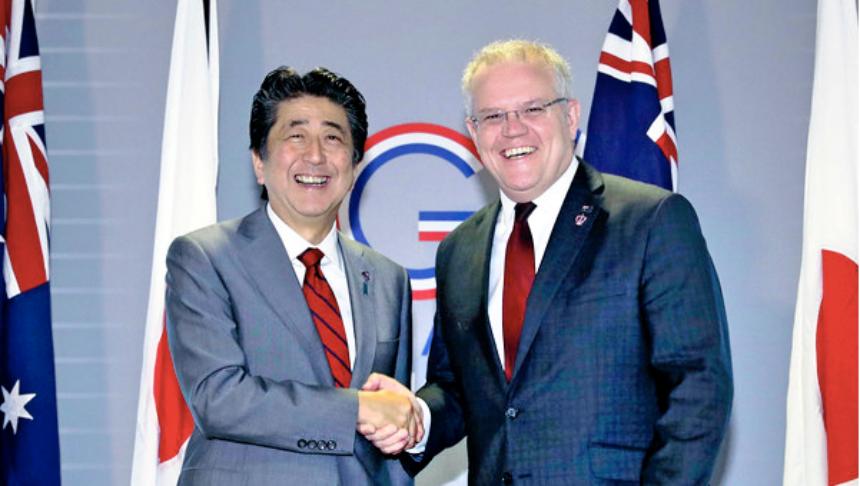 澳洲总理莫里森(Scott Morrison)和日本首相安倍晋三