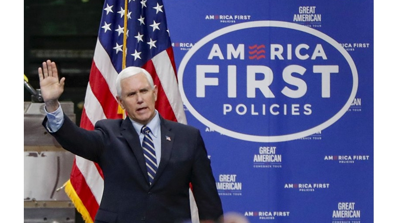 美國副總統彭斯(Mike Pence)。(AP Photo/Keith Srakocic, File)