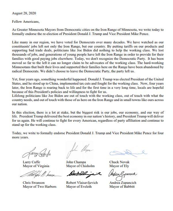 圖爲明州鐵嶺地區6位市長的公開信,宣佈支持川普總統競選連任。(網絡圖片)