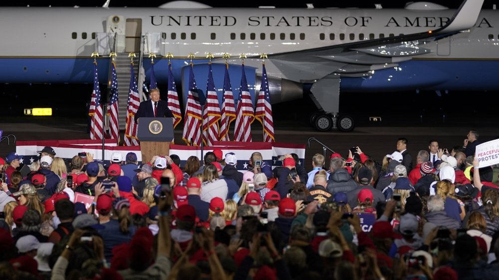 President Donald Trump speaks at a campaign rally at the Central Wisconsin Airport Thursday, Sept. 17, 2020, in Mosinee, Wis. (AP Photo/Morry Gash)