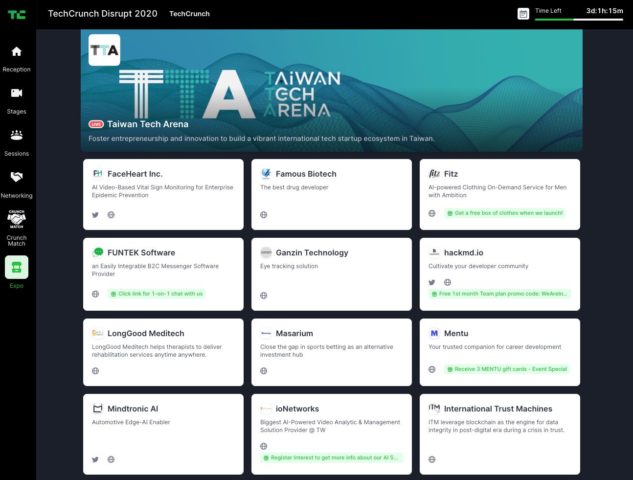 TAA-Expo TAA率领40个新创团队参加了Disrupt SF的线上展会