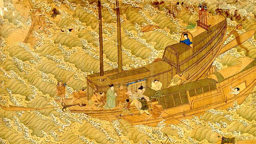 韩琦急忙命令准备船只渡河,果然河水波涛汹涌,波浪象山一样高(示意图片:[明]余壬、吴钺)